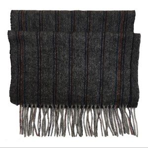 Black Brown 1826 100% wool grey striped scarf